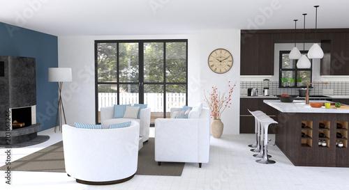 Vászonkép Wohnbereich mit offener Küche