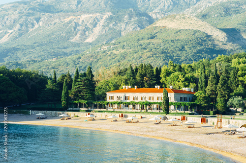 Fotografie, Obraz  The most beautiful resort of the Budva riviera surrounded by park, famous Queen's Beach, The Villa Milocer, Montenegro
