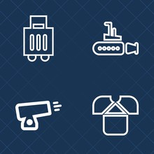 Premium Set Of Outline Vector Icons. Such As Underwater, Bag, Military, Nature, Boat, War, Baggage, Undersea, Fashion, Water, Clothing, Sea, Transportation, Weapon, Suitcase, Travel, Tourism, Journey