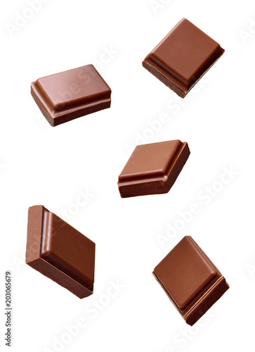Fotografia, Obraz chocolate piece sweet food dessert falling