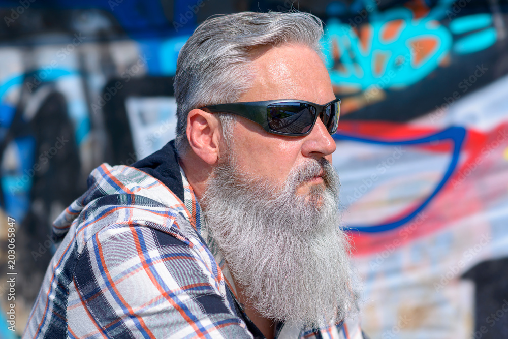 Photo & Art Print Mature man with long grey beard wearing sunglasses |  Abposters.com