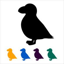 Puffin Icon, Black Silhouette ...