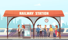 Railway Station Vector Illustr...
