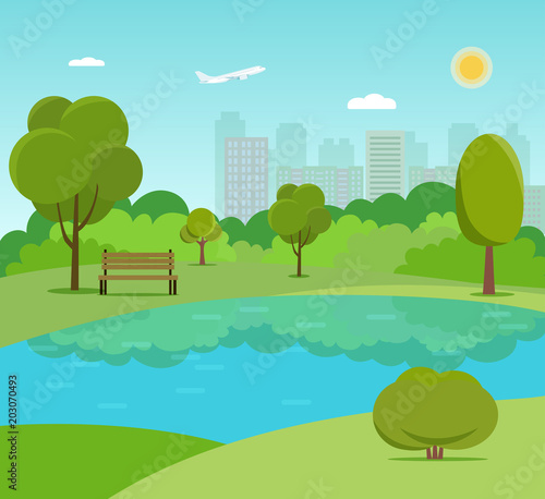 Tuinposter Lichtblauw Landscape in city park . Park bench and trees near the lake. Vector flat style Illustration