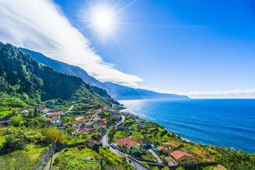 View on the northern coast by the Atlantic, Boaventura, Ponta Delgada, Madeira