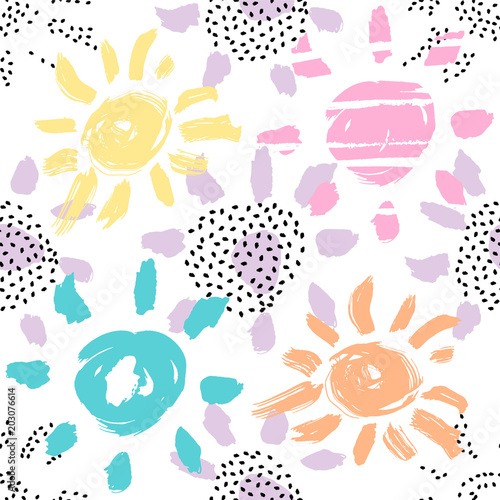 Photo Vector seamless pattern with brush painted sun silhouettes and sun shapes with dot texture isolated on white background