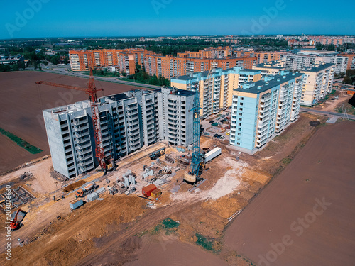 Papiers peints Europe de l Est Aerial image of new buildings on the edge of the city in Eastern Europe