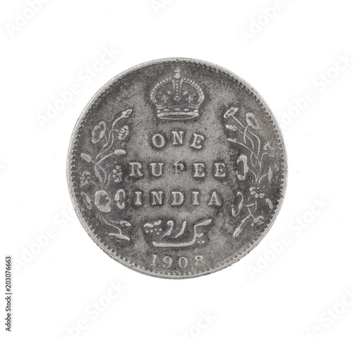 Fotografia, Obraz  Edward VII King & Emperor, One Rupee India 1908, Indian old Coin or Indian Curre