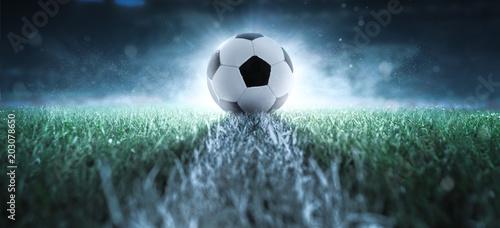 fototapeta na szkło Anstoß - Fußball - Spielfeld