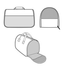 Pet Travel Carrier Fashion Flat Technical Drawing Template