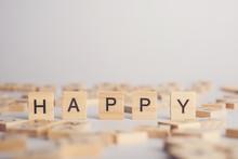 HAPPY Wooden Tile Font  Concept