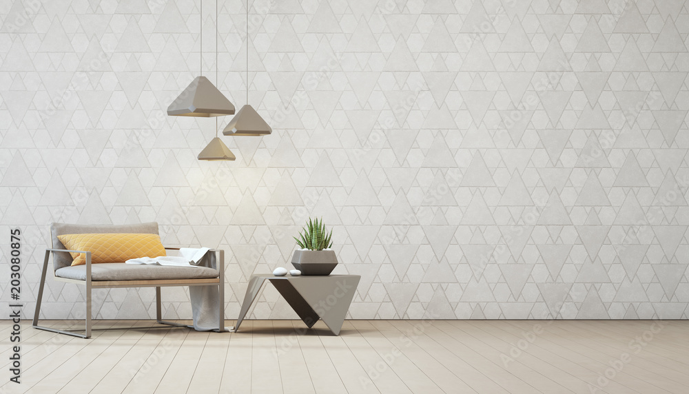 Fototapeta Indoor plant on steel coffee table and armchair with empty white triangle pattern wall background, Relaxing area in loft living room of modern house - Home interior 3d illustration.