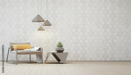 Photo  Indoor plant on steel coffee table and armchair with empty white triangle pattern wall background, Relaxing area in loft living room of modern house - Home interior 3d illustration