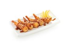 Shrimp In Batter On White Plat...