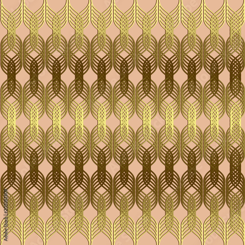 Braided Wavy Lines Gold Seamless Pattern Vector Geometric Abstract Waves Background Ornamental Luxury Design