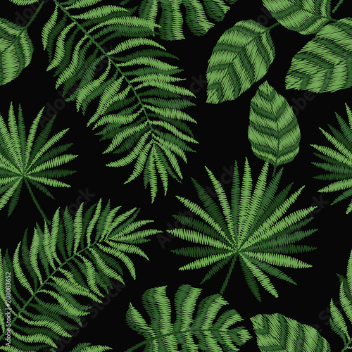 Embroidery Seamless Pattern Texture Wallpaper Background With Tropical Leaves Vector Floral Ornament On Black Background Template For Design Printing Textiles Clothing Buy This Stock Vector And Explore Similar Vectors At Adobe Tropical leaf prints in home decor, fashion and party jessica long on instagram: tropical leaves vector floral ornament