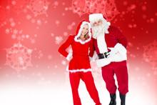 Santa And Mrs Claus Smiling At Camera  Against Digitally Generated Delicate Snowflake Design