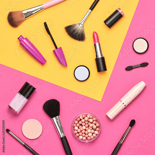 Fotografiet Fashion Cosmetic Makeup Set. Beauty Products
