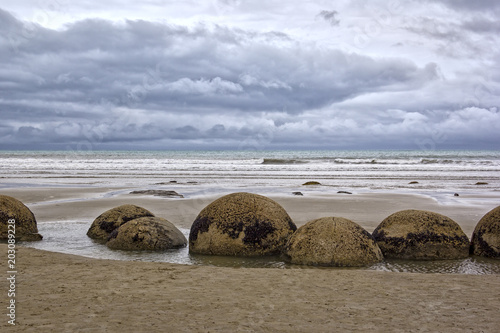 The Moeraki Boulders are unusually large and spherical boulders Wallpaper Mural