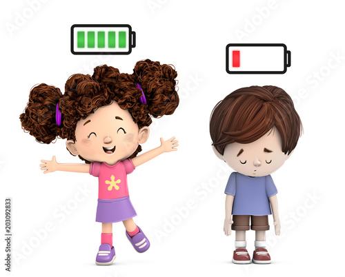 Photo niños con bateria de energia