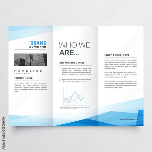 Obraz na plátně minimal blue trifold brochure layout background