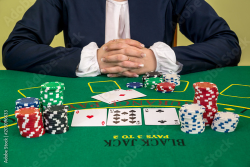 Poster  Gambling, woman ready to play pocker in casino