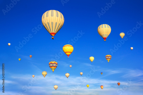 Hot air balloons flying in sunsrise sky Cappadocia, Turkey