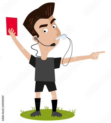 Fußball Cartoon, streng blickender Schiedsrichter pfeift, gibt rote Karte und ze Canvas Print