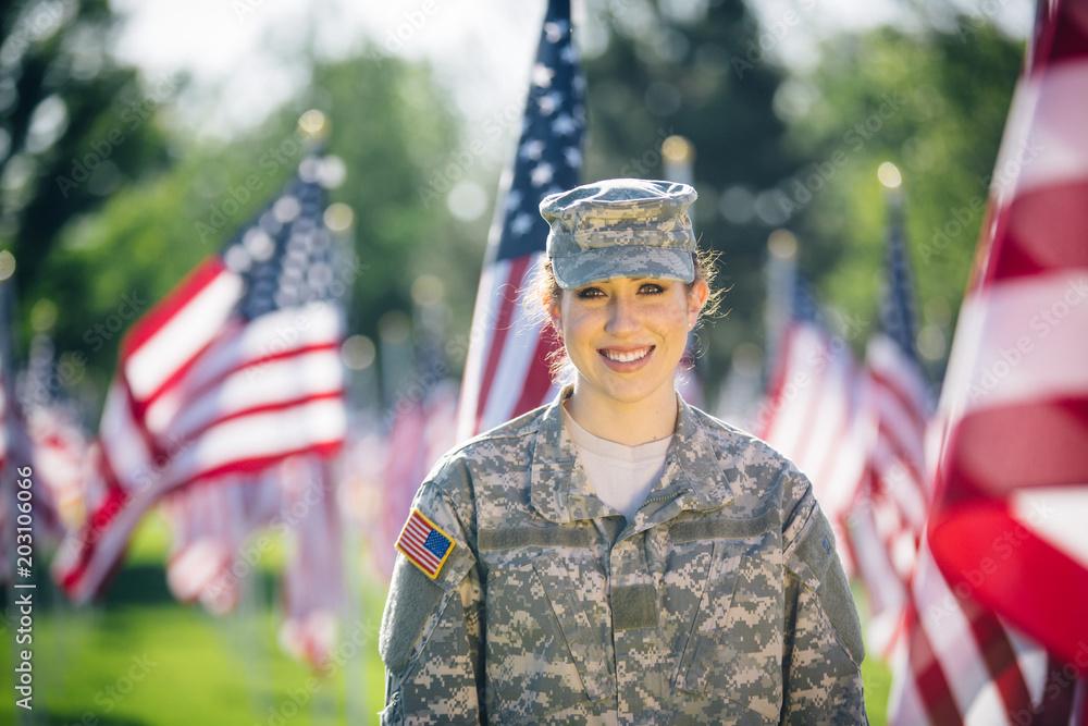 Fototapeta Portrait of hispanic American female soldier