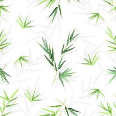 FototapetaSeamless background with bamboo leaves, vector floral pattern with seamless texture for print design.