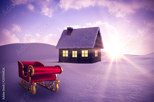 Foto op Plexiglas Purper Red and gold santa sleigh against snowy landscape with fir trees