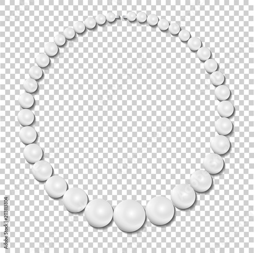 Leinwand Poster  Pearl necklace on transparent background, stock illustration vector