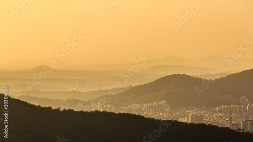 In de dag Seoel Beautiful view of Seoul from the Asan Mountain at sunset, South Korea
