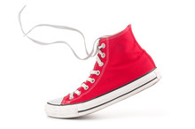 Single Red Sneaker On White Ba...