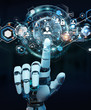 canvas print picture - White robot hand using digital screen interface 3D rendering