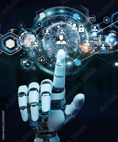 Photo White robot hand using digital screen interface 3D rendering