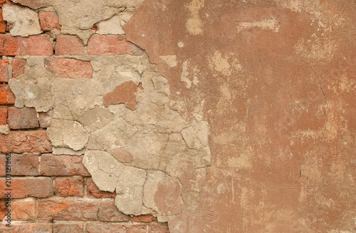 Canvas Prints Old dirty textured wall Vintage textured old painted red brick wall with stained and shabby uneven plaster background