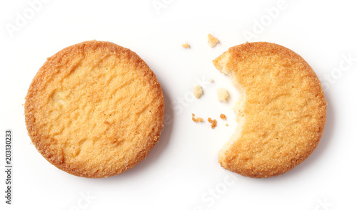 Fotomural butter cookies on white background