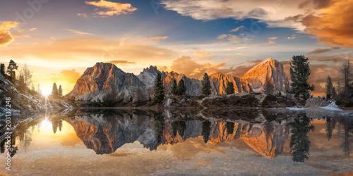 Fototapeta Amazing sunset over Lago di Limides obraz