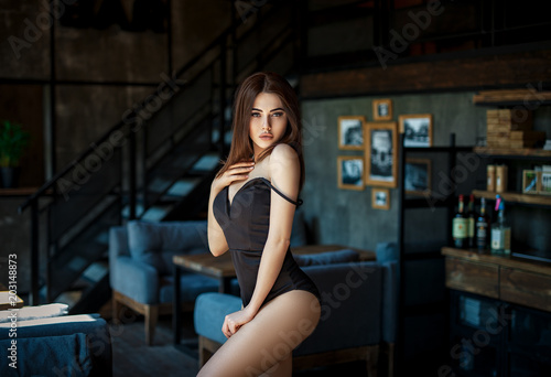 Beautiful girl in a sexy black lingerie Obraz na płótnie