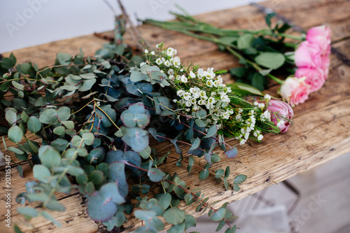Foto op Aluminium Bloemen Floristic details on the table.