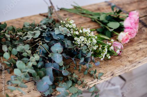 Foto op Canvas Bloemen Floristic details on the table.