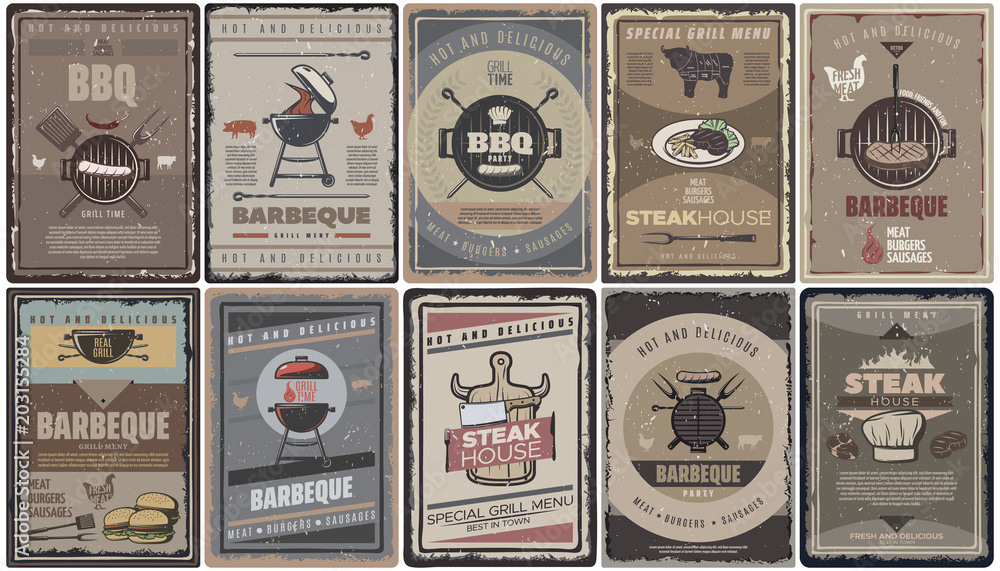 Fototapety, obrazy: Vintage Colored Barbecue Brochures Collection