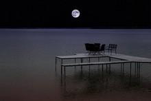 Lakeside At Night - Full Moon