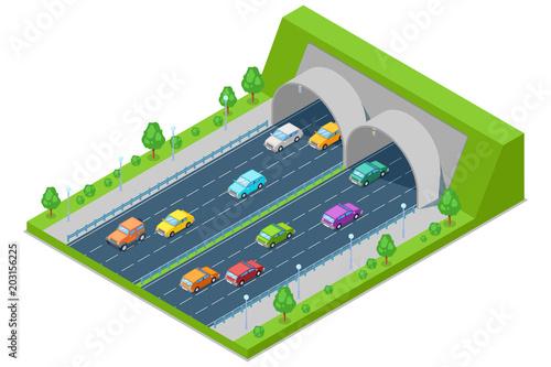 Autostrady droga przechodzi przez tunelu w górze, wektorowa isometric 3D ilustracja. Transport, koncepcja budowy dróg