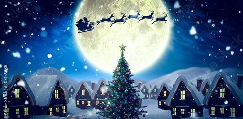 Fotografie, Obraz  Santa delivery presents to village