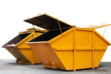 Industrial Waste Bin (dumpster) For Municipal Waste Or Industrial Waste, Isolated On White Background.