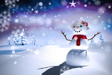 Composite image of snowman against aurora night sky in purple