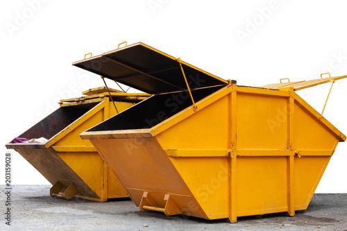 Valokuva  Industrial Waste Bin (dumpster) for municipal waste or industrial waste, isolated on white background