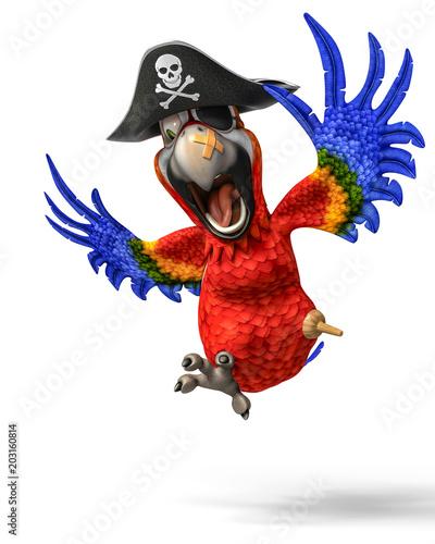 Naklejka premium pirat, papuga, rysunek